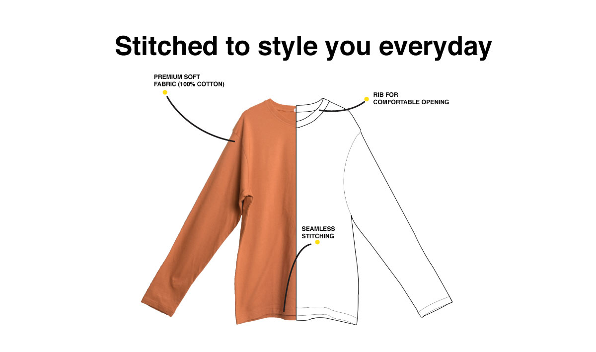 Different Mirror Full Sleeve T-Shirt Description Image Website 1@Bewakoof.com