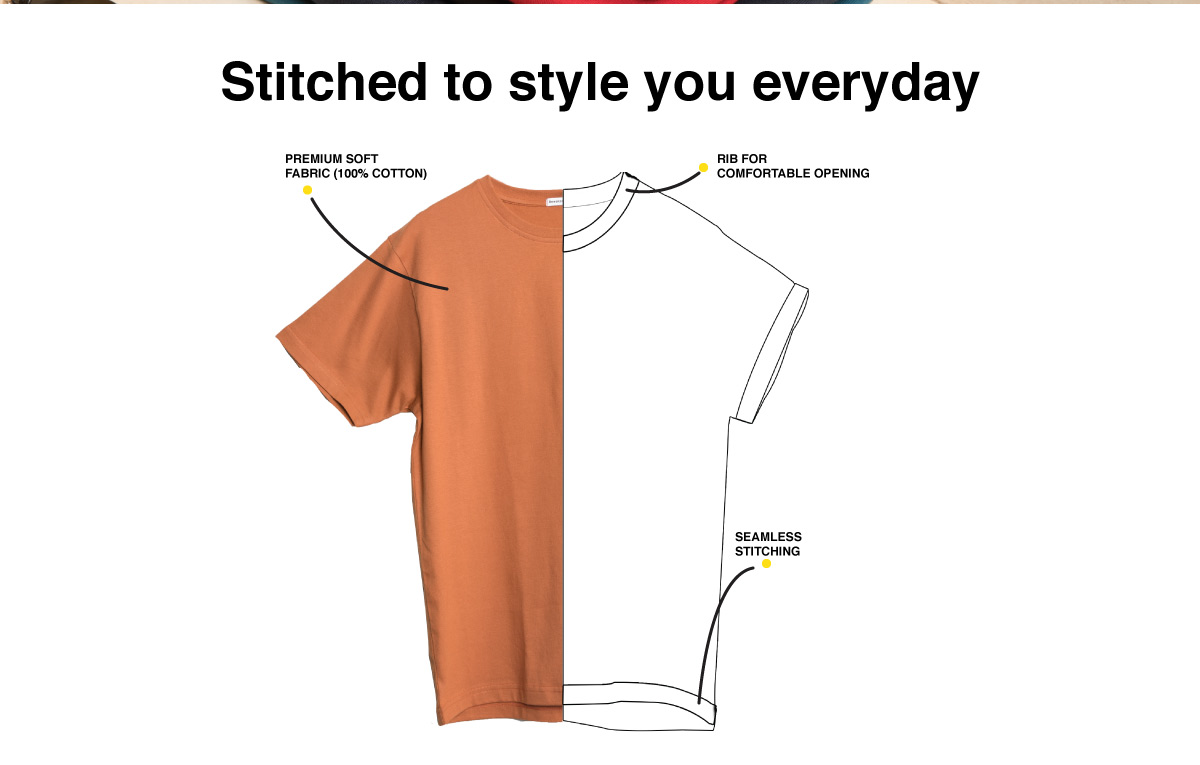 Minimal V Half Sleeve T-Shirt Description Image Website 1@Bewakoof.com