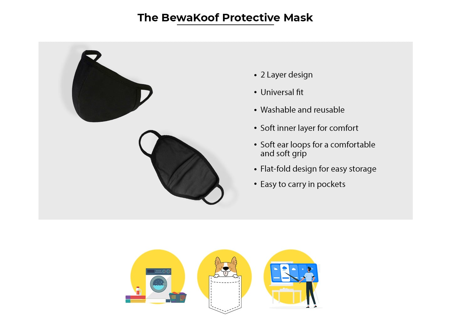 2-Layer Premium Protective Masks - Pack of 3 (Jet black-Dark olive-Jet black) Description Image Website 0@Bewakoof.com