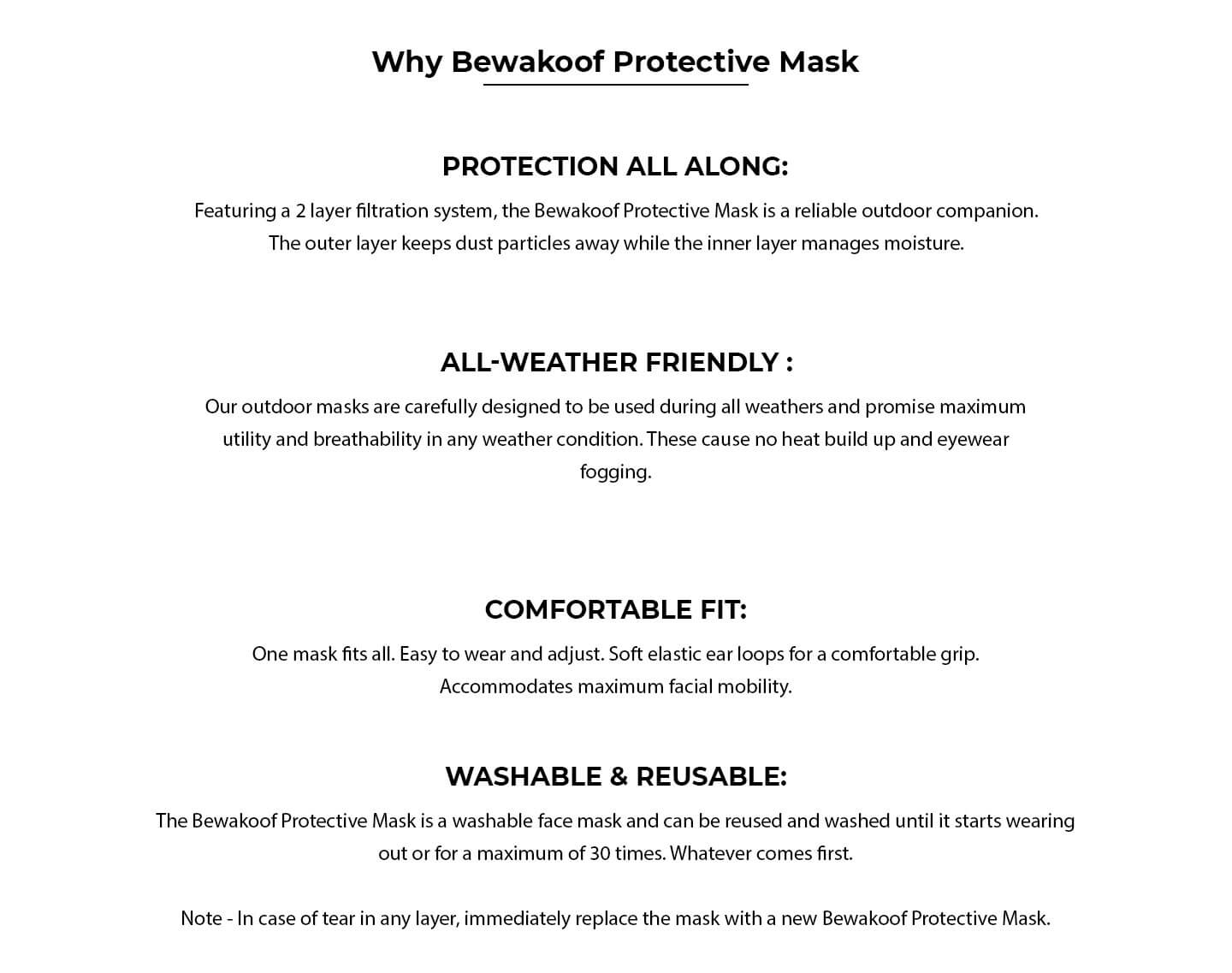 Women's 2-Layer Everyday Protective mask - Pack of 3 (Jet Black) Description Image Website 1@Bewakoof.com