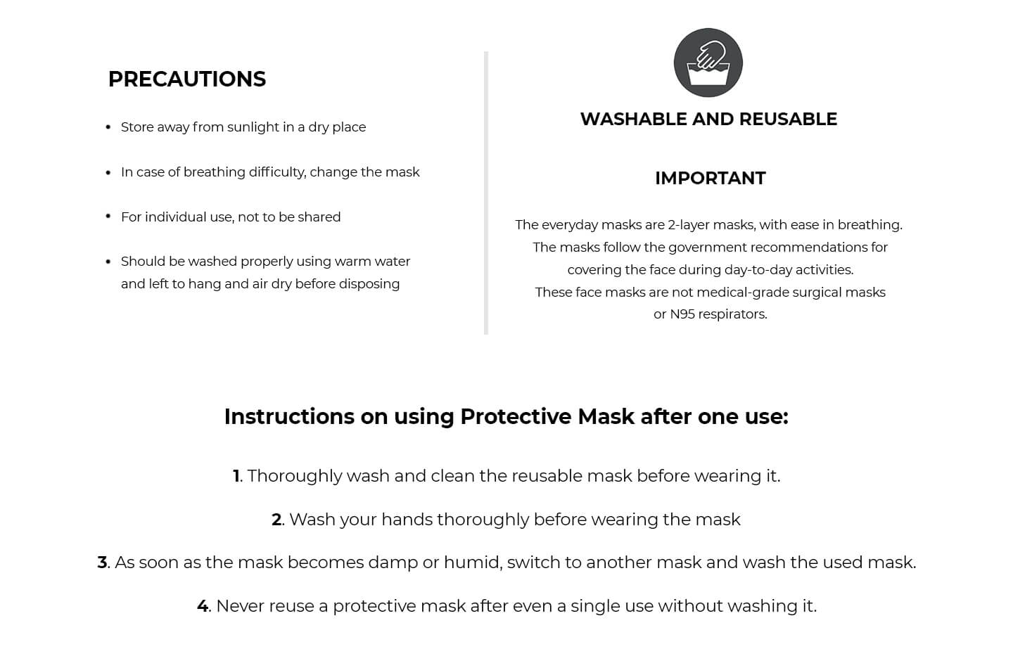 2-Layer Everyday Protective Mask - Pack of 10 (Jet Black-White-Brick Red-Lilac Breeze-Blue Haze) Description Image Website 3@Bewakoof.com