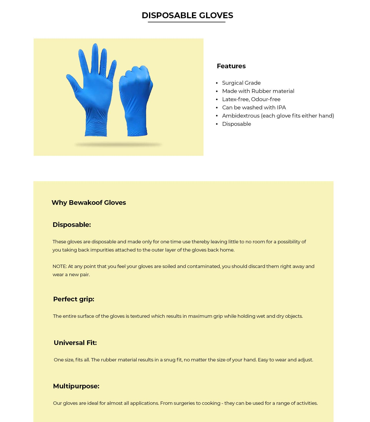 Disposable Hand Gloves (Pack of 50) Description Image Website 0@Bewakoof.com