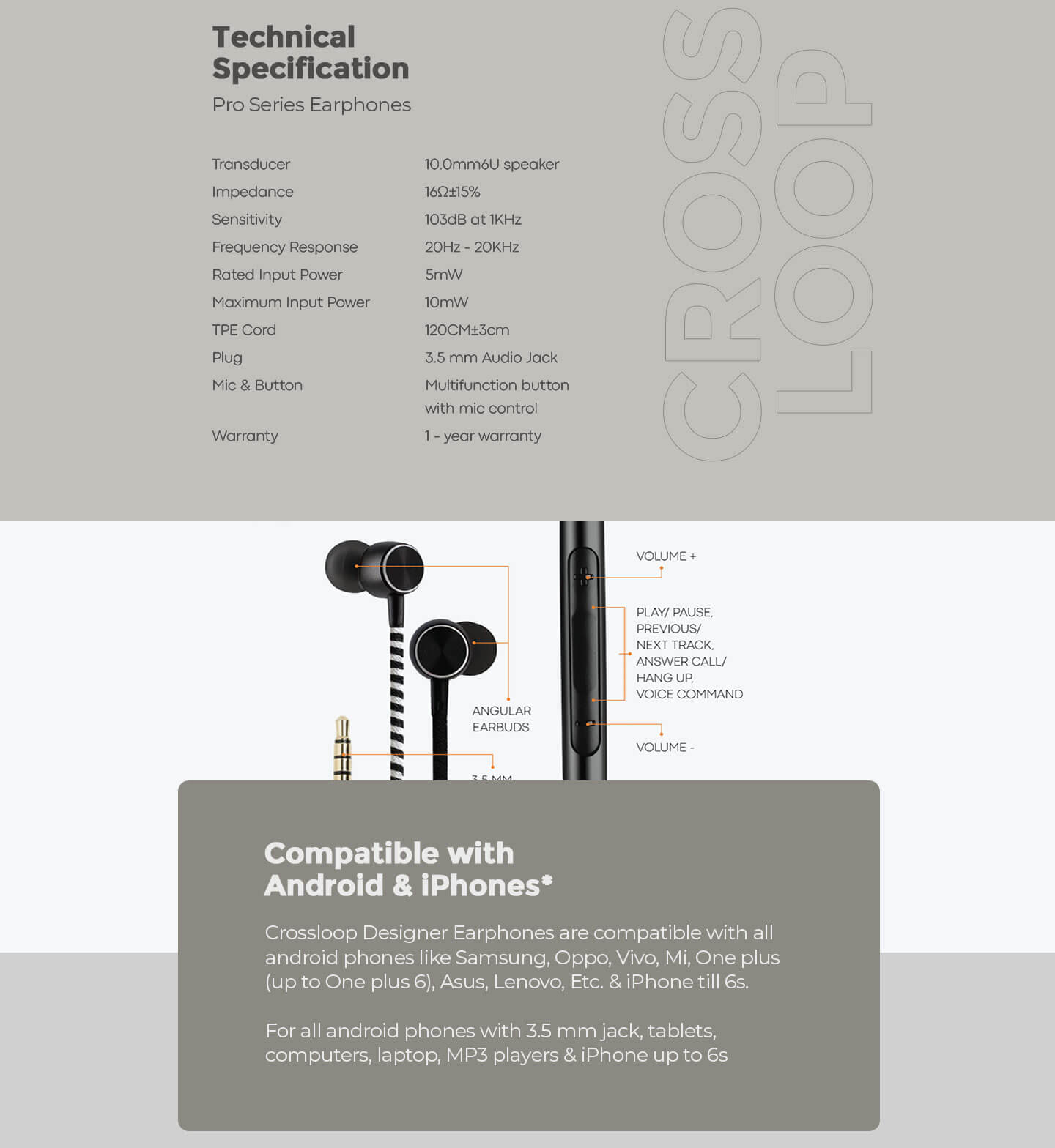 CrossLoop Pro Series Earphone with Mic & Volume Control in Pink & Black Description Image Website 1@Bewakoof.com