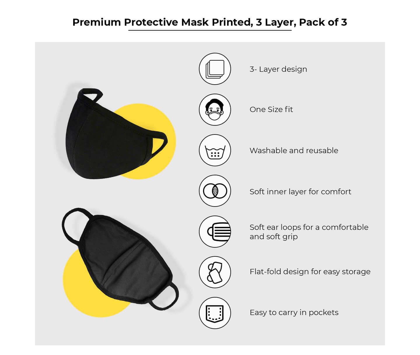 2-Layer Premium Printed Mask - Pack of 3 (Memphis, Strawberry,Lipstick and heels) Description Image Website 0@Bewakoof.com