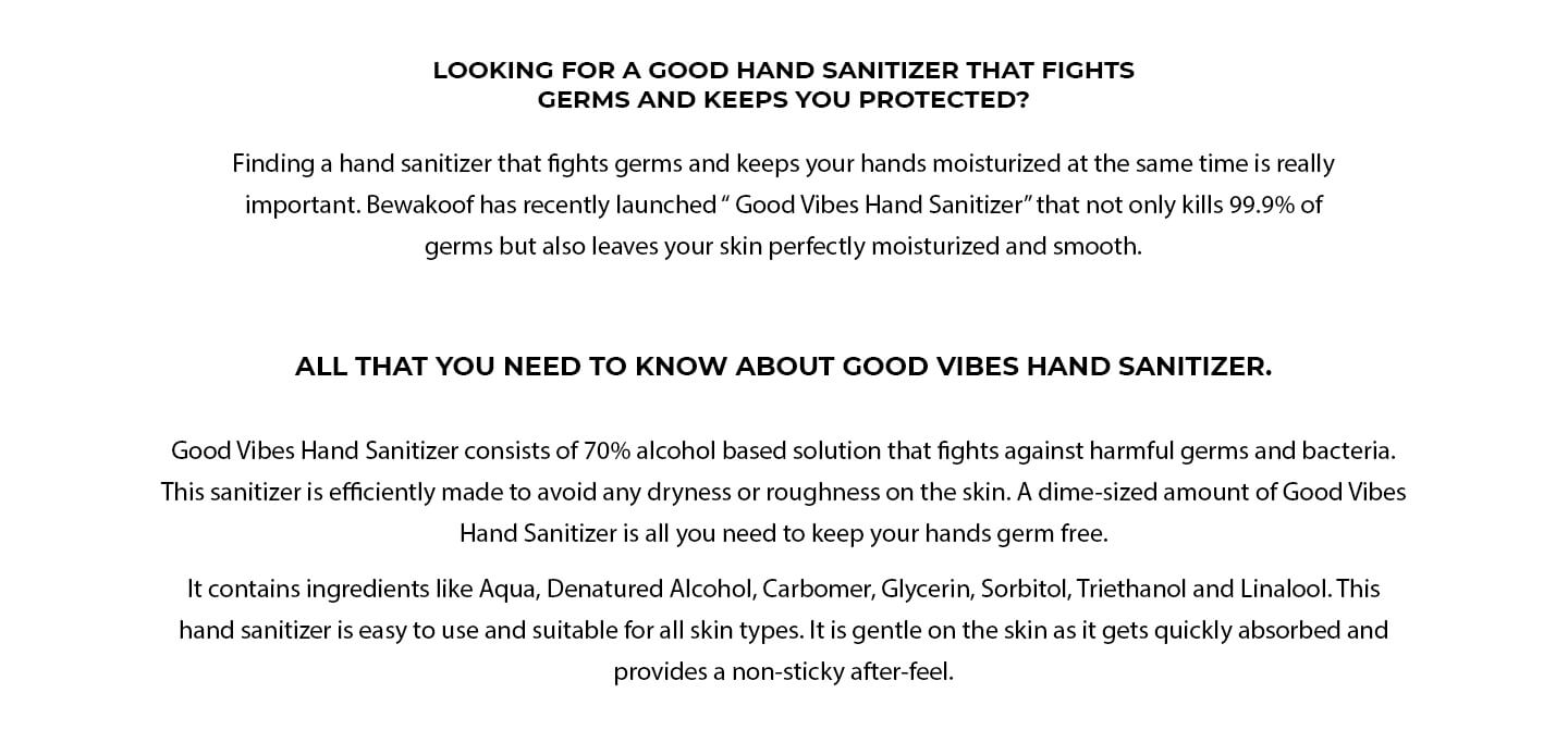 Good Vibes Hand Sanitizer(300 ml) (Pack of 3) Description Image Website 1@Bewakoof.com