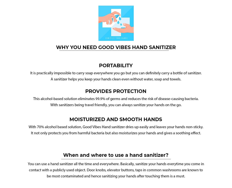 Good Vibes Hand Sanitizer (300 ml) (Pack of 2) Description Image Website 2@Bewakoof.com