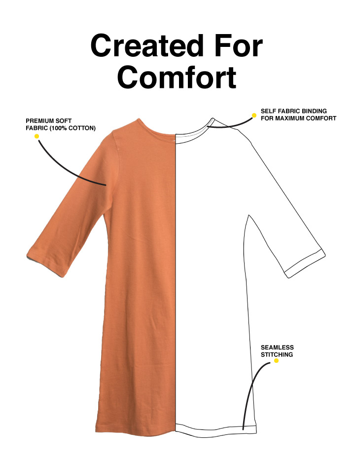 Minimal Marshmello Boat Neck 3/4th Sleeve T-Shirt Dress Description Image Mobile Site 1@Bewakoof.com