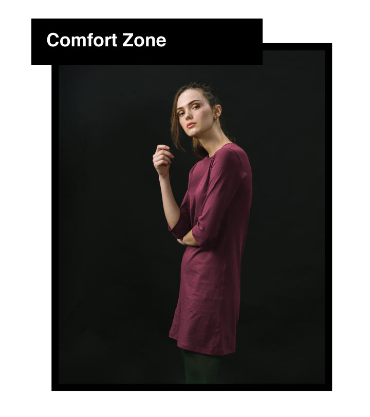 Sketch Expression Boat Neck 3/4th Sleeve T-Shirt Dress Description Image Mobile Site 4@Bewakoof.com