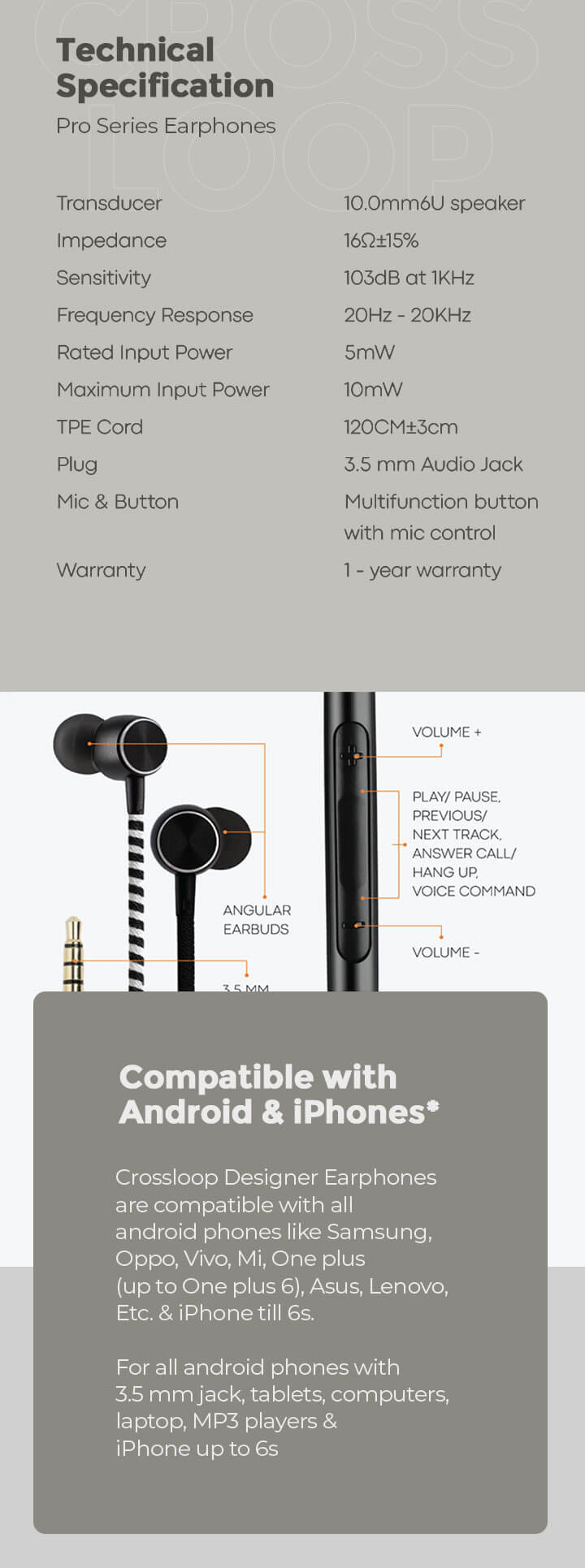 CrossLoop Pro Series Earphone with Mic & Volume Control in Pink & Black Description Image Mobile Site 1@Bewakoof.com