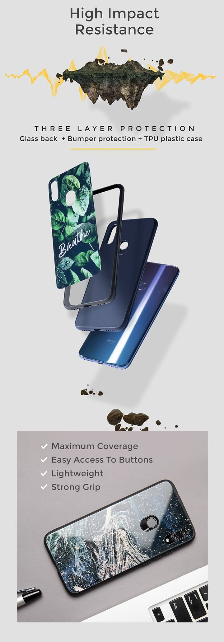 Thor Hammer OnePlus 7 Pro Glass Mobile Cover (AVL) Description Image Mobile Site 1@Bewakoof.com