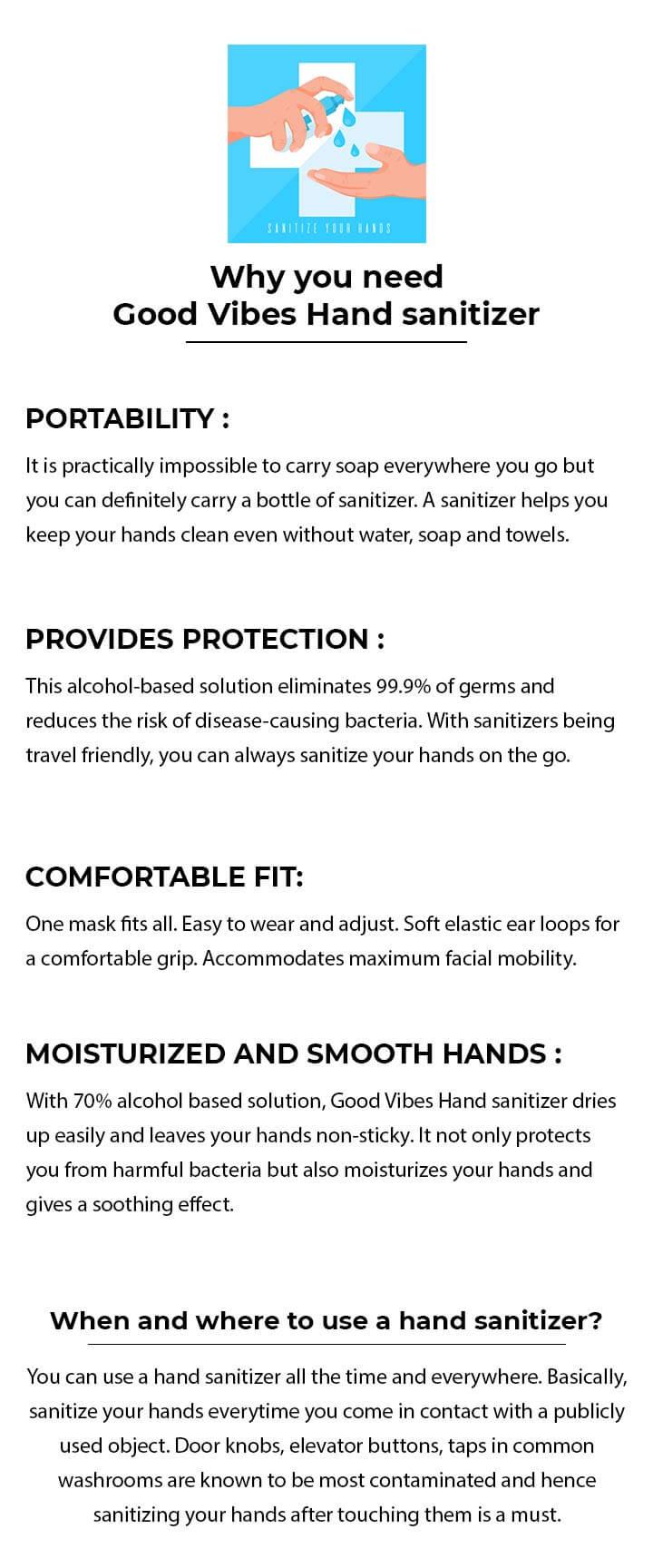 Good Vibes Hand Sanitizer (300 ml) (Pack of 2) Description Image Mobile Site 2@Bewakoof.com