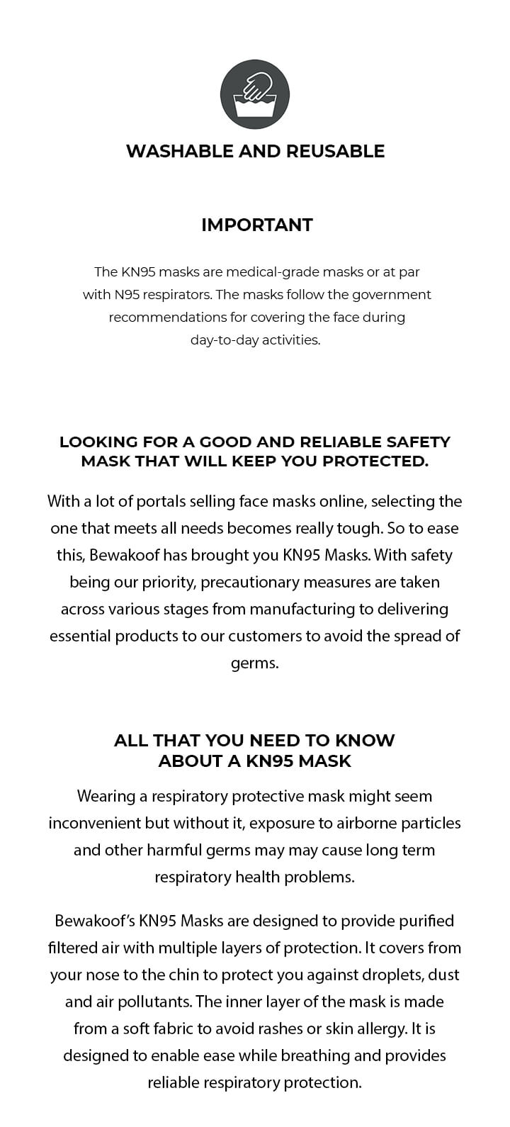 KN95 Face Mask Pack of 3 Description Image Mobile Site 3@Bewakoof.com