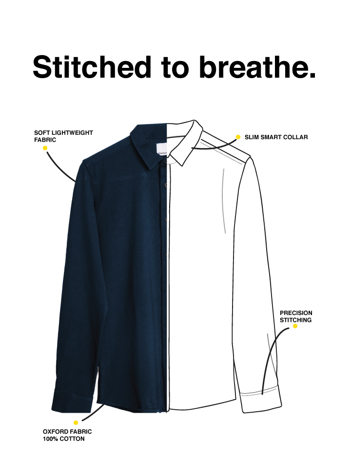 Alice Blue Slim Fit Oxford Full Sleeve Shirt Description Image Mobile Site 1@Bewakoof.com