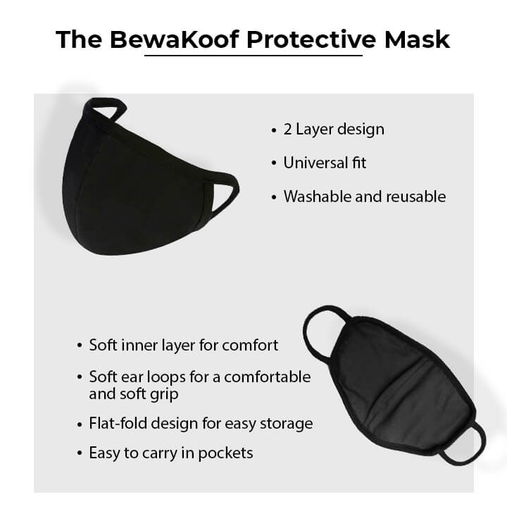 2-Layer Premium Protective Masks - Pack of 3 (White-Jet Black-White) Description Image Mobile Site 0@Bewakoof.com