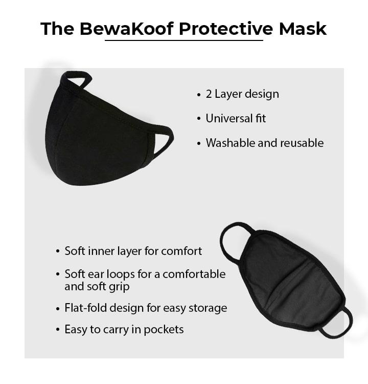 2-Layer Everyday Protective Mask - Pack of 3 (Jet Black-Prussian Blue-Dark Forest Green) Description Image Mobile Site 0@Bewakoof.com