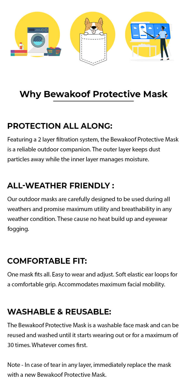 2-Layer Everyday Protective Mask - Pack of 3 ( Be Kind! Stay Away! Stay Home Everyday Mask ) Description Image Mobile Site 1@Bewakoof.com