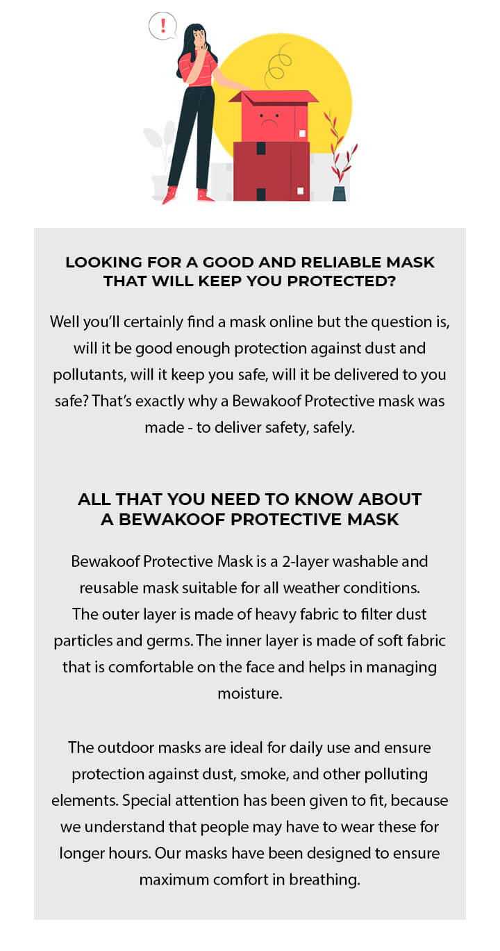 2-Layer Premium Protective Masks - Pack of 3 (White-Jet Black-White) Description Image Mobile Site 2@Bewakoof.com