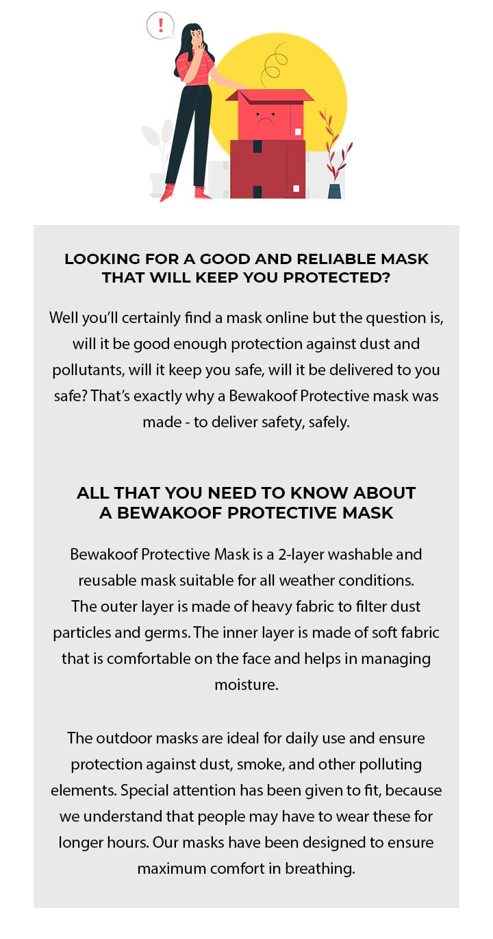 2-Layer Everyday Protective Masks - Pack of 3 (X-Ray! Hello! Duur Reh!) Description Image Mobile Site 2@Bewakoof.com