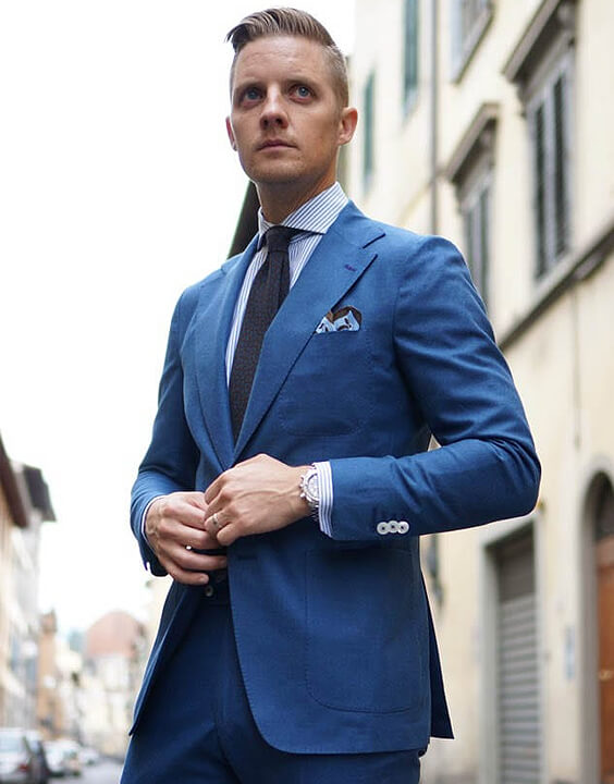 Blue Shirt With Blue Suit