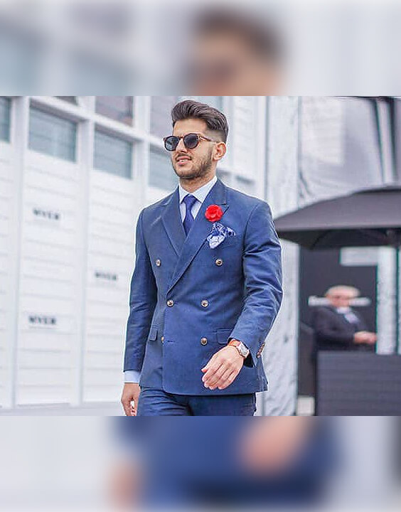 Grey Shirt with Blue Suit