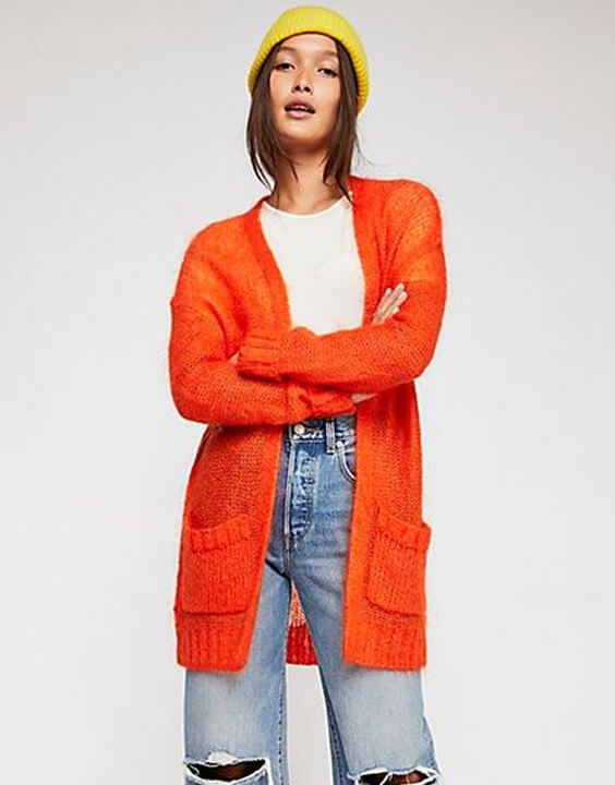 Cardigan Sweater with Wide-Legged Jeans