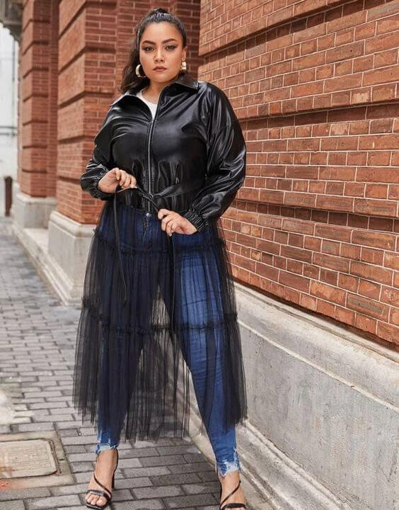 Plus Size Leather Jacket Outfits for Women