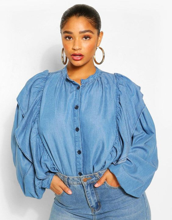 Plus Size Denim Shirts Outfits for Women