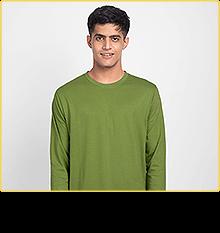 Woodbine Green Plain Full Sleeve T-Shirt