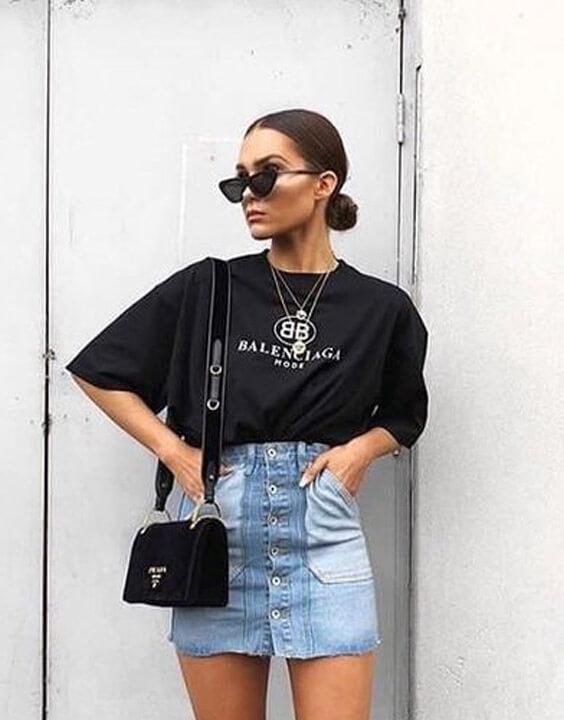 Black Oversized  T Shirt With Mini Denim Skirt - Bewakoof Blog