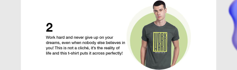 Work Hard Half Sleeve T-Shirts