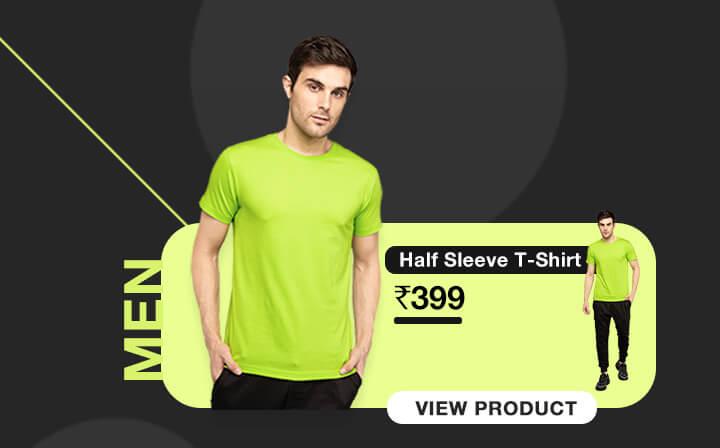 Neon Green Half Sleeve T-Shirts for Men