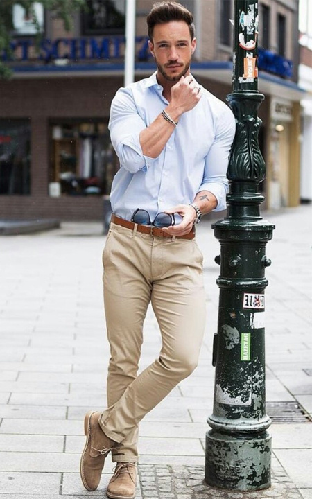 dark brown shirt with khaki pants