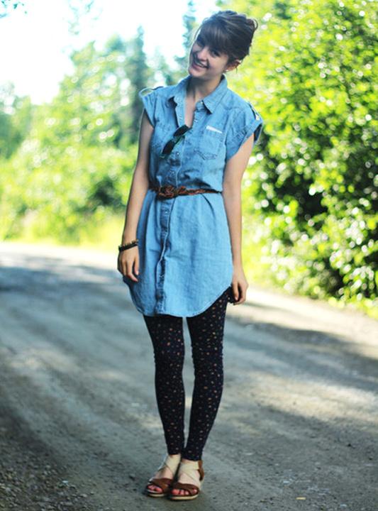 denim shirt dress with leggings - bewakoof blog