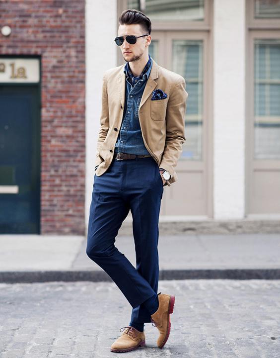 Blue Pant Combination with brown blazer - Bewakoof Blog