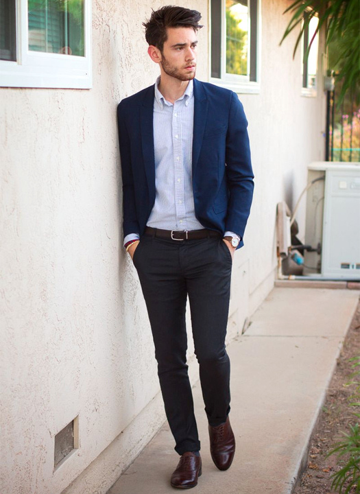 Navy blue blazer with black pants - Bewakoof Blog
