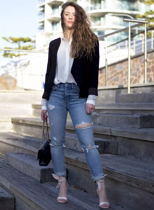 a31577d6eb ... the look. Blue jeans white shirt black blazer - Bewakoof Blog