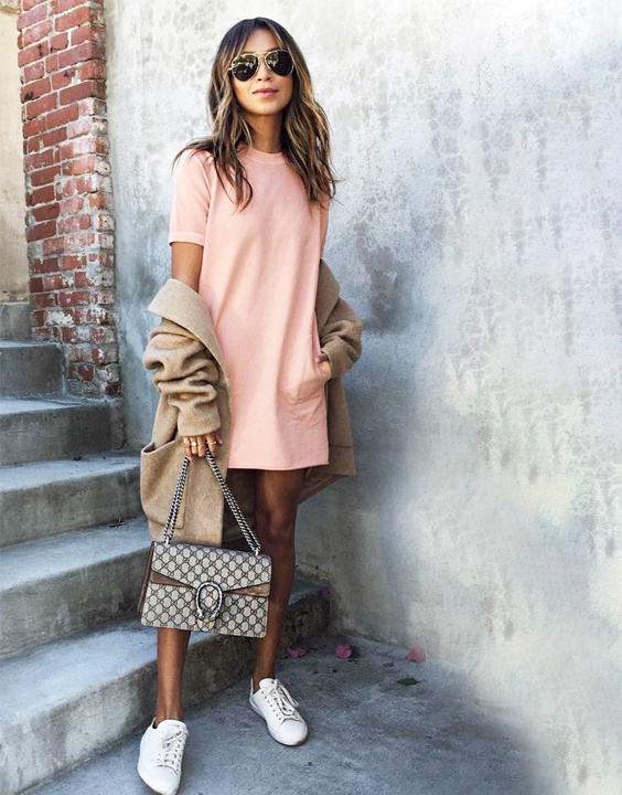 Sneakers with dresses combinations