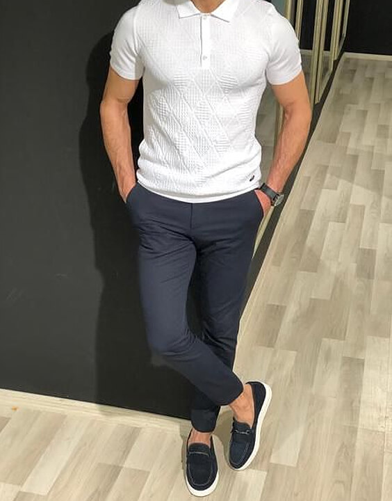 polo-neck t-shirt with a pair of formal trousers