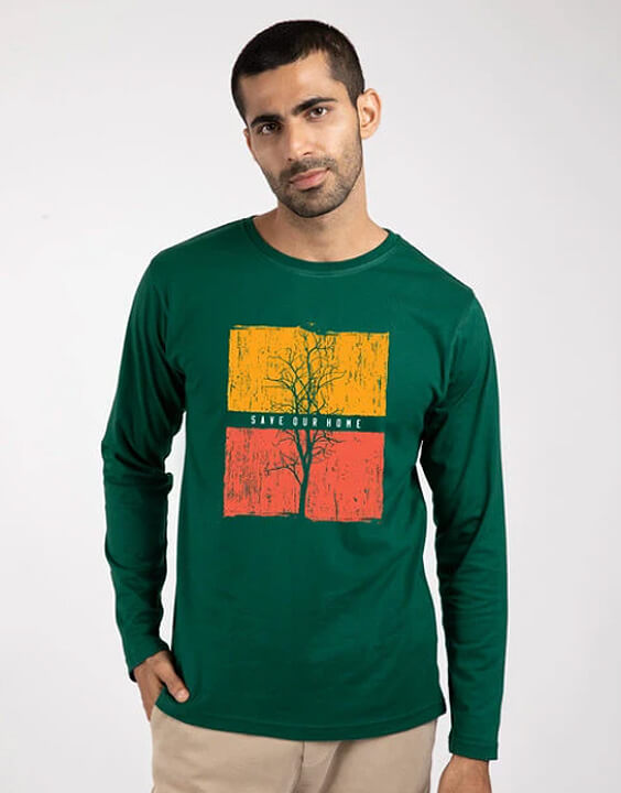 Printed Green Full Sleeve T Shirts for Men