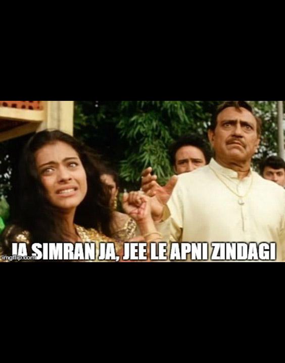 famous bollywood dialogues Jaa Simran, jaa. Jeele apni zindagi