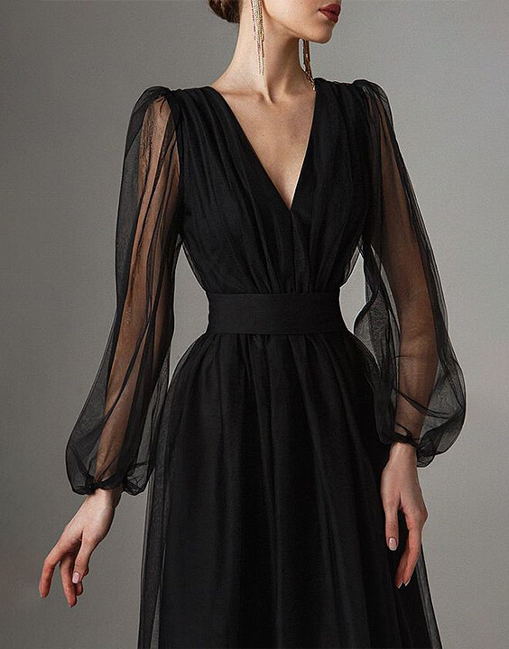 pleated black dresses