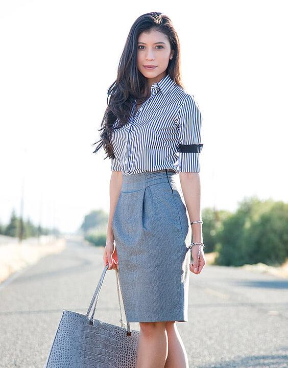 gray striped shirt with skirt | Bewakoof