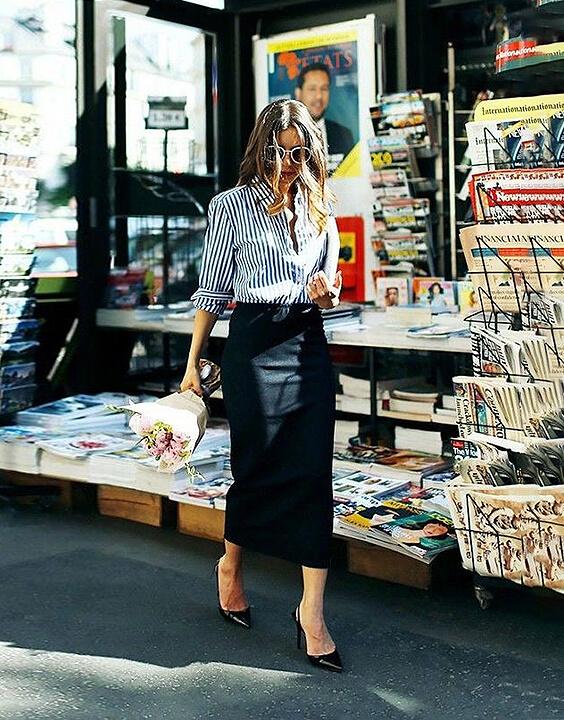 Stripe Shirts and Skirt Style for Women - Bewakoof
