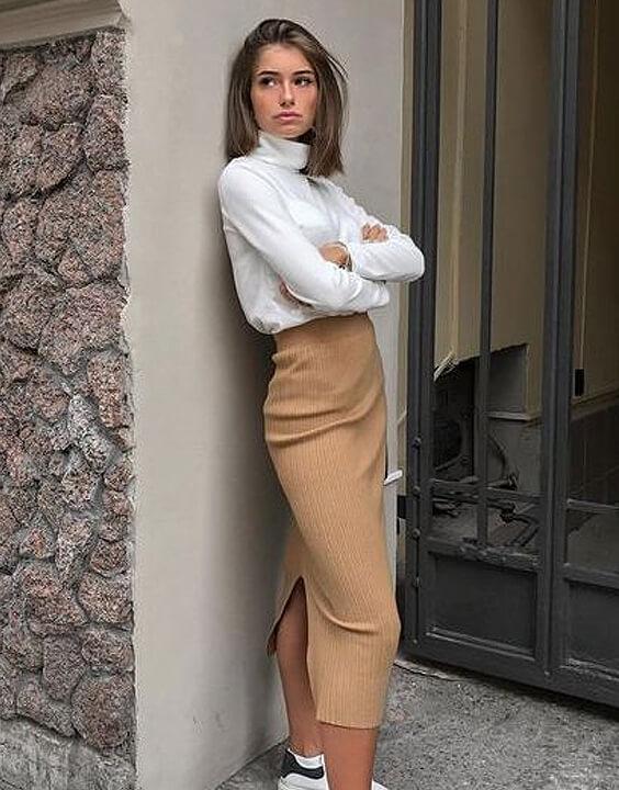 White T Shirt with brown skirt | Bewakoof