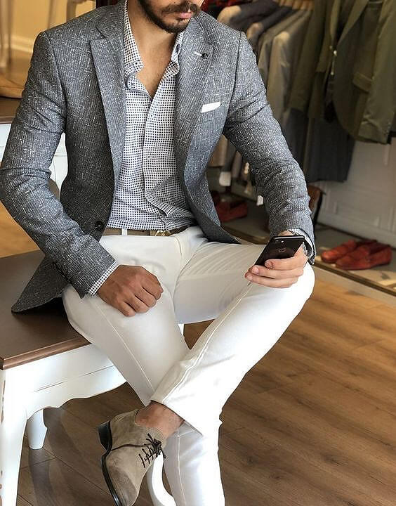 White jeans and grey blazer jacket for men