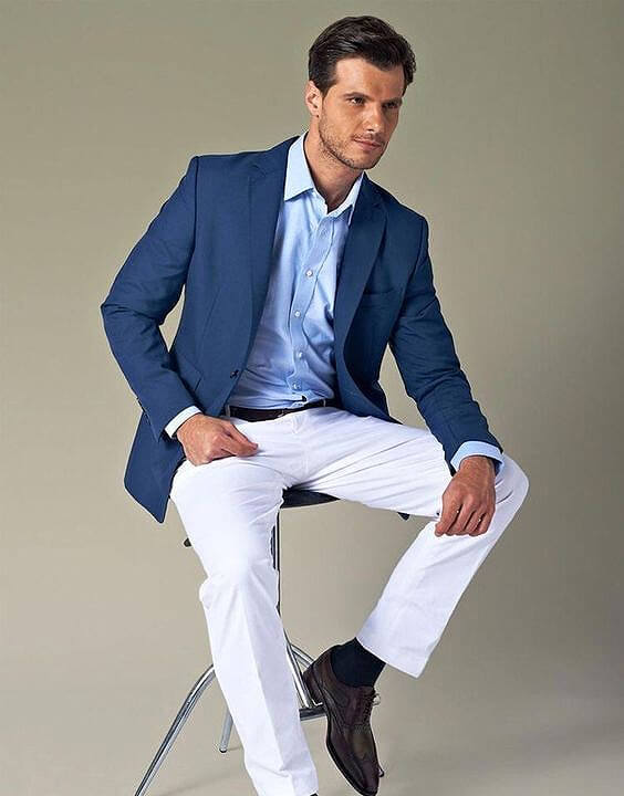 White jeans with navy blue suit combination
