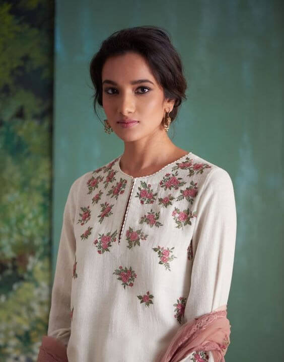white pant style suit designs with luxurious multi-colored floral embroidery